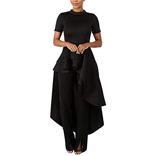 LEXUPE Frauen - Rüschen High Low Tops Für Kurzarm Bodycon Dress Shirt Kleider(Schwarz,XXX-Large)