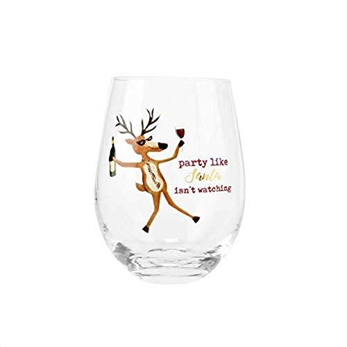 Mud Pie Reindeer Funny Wine Glass, 16 oz