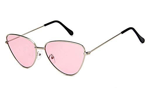 CHICNET Damen Herren Sonnenbrille dreieckig Trend Brille Cateye Cat Eye, 400 UV, Metall, verspiegelt oder getönt rosa