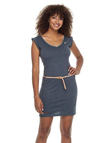 Ragwear SLAVKA Mujer,Vestido, Vestido de Verano, sin Mangas, Vegano, Escote en V, cinturón de Cintura,Navy,S