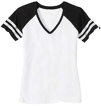 Joe s USA Ladies Distressed Retro V-Neck T-Shirt-2XL-White Black