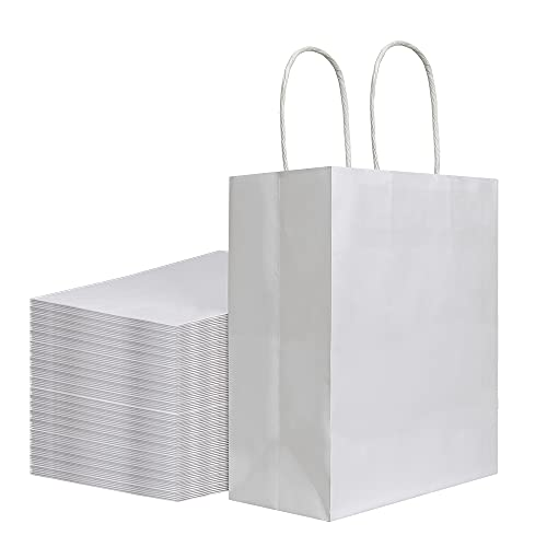 100Pcs Pack 8x4.75x10 inch Medium White Kraft Paper Bags with Handles Bulk, Bagmad Gift Bags, Craft Grocery Shopping Retail Birthday Party Favors Wedding Sacks Restaurant Takeout, Business (100)