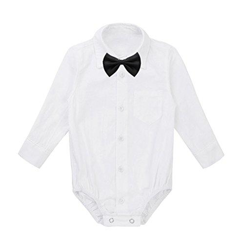 iEFiEL Baby Pagliaccetto per Neonato Bimbo Romper con Papillon Amovibile Camicie a Maniche Lunghe Abito da Battesimo Pigiama Tutina Shirt Bianco Nero 3-24 Mesi White&Black 9 Mesi
