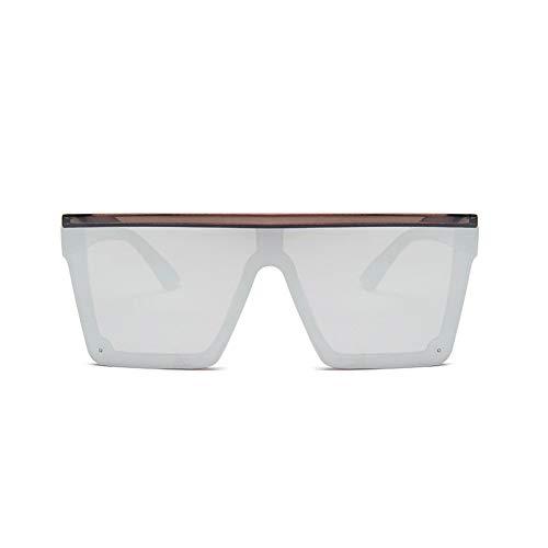 Huguo Gafas de Sol Mirror Square para Mujer Retro One Piece Flat Sun Glass Marca de Moda Femenina Plata Negra reflejan Tonos Hombres