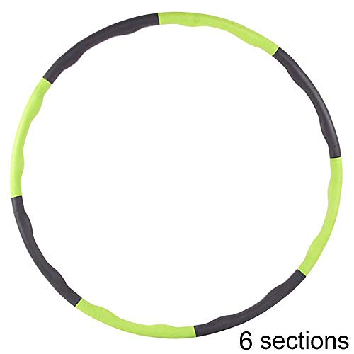 Best Bargain Hula Hoop, Folding Fitness Wave Weighted Hula Hoops 6 Sections for Exercise, Foam Paded...