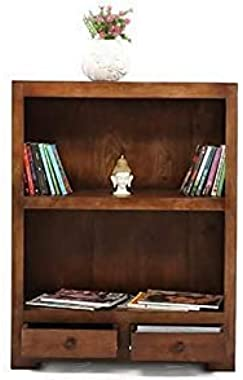 Sheesham Wood Display Unit with 2 Drawer for Living Room and Drawing Room