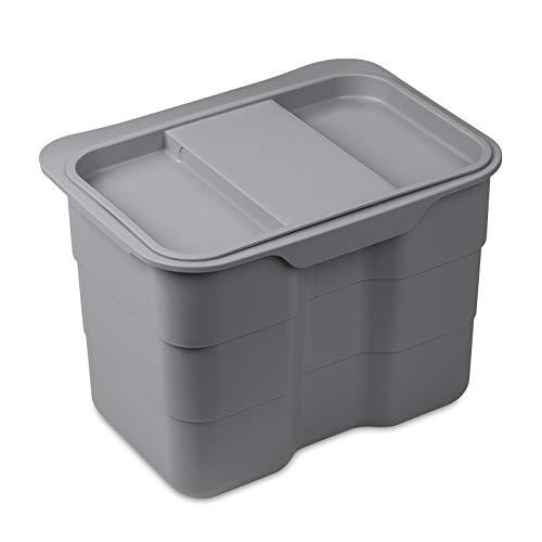 Biobin Multifunktionsbehälter 4,2 L grau mit Deckel 170 x 227 x 172 mm zum Einhängen Aufbewahrungsbox Abfallsammler von SO-TECH®