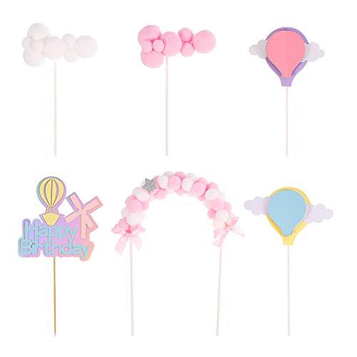 fanshiontide Tortendeko Geburtstag 6er Set Kuchen Kinder Kuchen Topper, Happy Birthday, Wolke, 3D Heißluftballon Kuchendekoration