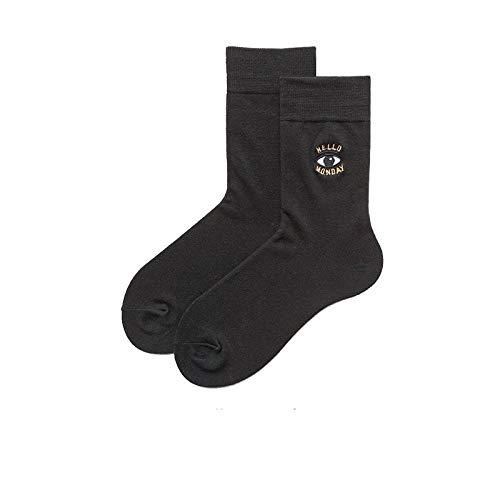 Sokken kleurrijk 3 paar zwarte ogen letters lente en zomer katoen ademende comfortabele katoenen sokken vrije tijd wilde tube eenvoudig patroon sport mannen en vrouwen paar trendy katoenen sokken