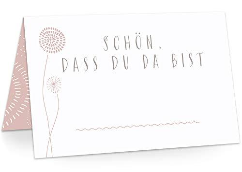 KAWAI-KAMI Tischkarten Platzkarten Namenskarten für Hochzeit Geburtstag Feier Taufe Kommunion Konfirmation Firmung Jugendweihe, 50 Stück Premium Qualität, Blumen-Dekor, Powder Pink (Rosa)