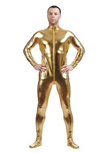 Yuanu Unisex Beschichtung Adhesive All Inclusive Ganzkörperanzug Onesies, Reißverschluss Vorne Haut Anzug Cosplay Anime Bühnen Performance Kostüm Zentai Gold M