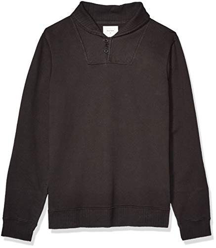 Billy Reid Men's Long Sleeve Pullover Ribbon Terry Shawl Collar Sweater, Black, M
