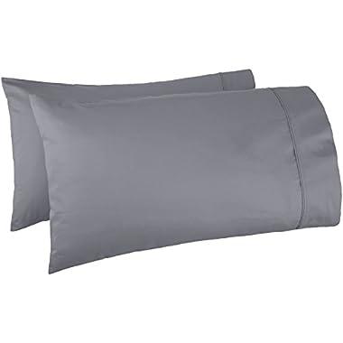 AmazonBasics 400 Thread Count Pillow Cases - Standard, Set of 2, Dark Grey