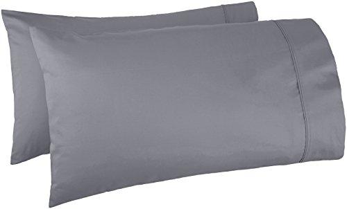 Amazon Basics 400 Thread Count Pillow Cases - Standard, Dark Gray