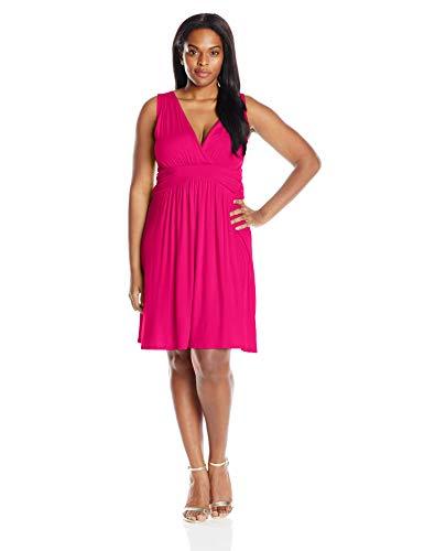 Star Vixen Women's Plus-Size Sleeveless Empire Waist Summer Sun Dress, Fuchsia, 1X