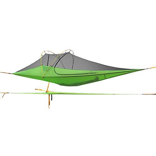Tente de Camping en Plein air battant Type Soucoupe Hamac au Sol Tentes Abri de Soleil Imperméable Ombre Auvent pour la Survie Alpinisme Randonnée Voyage Rainfly-Green