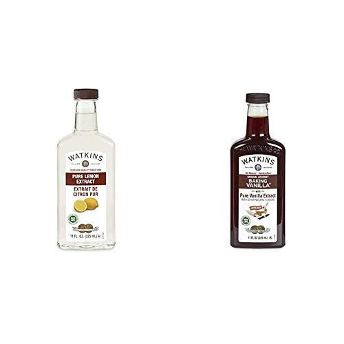 Watkins Pure Lemon Extract, 11 oz. Bottle, 1 Count (Packaging May Vary) & All Natural Original Gourmet Baking Vanilla, with Pure Vanilla Extract, 11 ounces Bottle, 1 Count (Packaging May Vary)