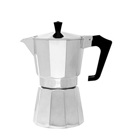BUTLERS Esperto Espressokocher 10x19x20,5 in Silber - Italienische Espressomaschine als Kaffeebereiter f?r 6 Tassen