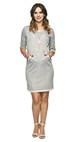 2in1 Umstandskleid/Stillkleid, gleichzeitig Bequeme und sehr schöne Schwangerschaftstunika, Stilltunika, Modell: ERMI, grau, L