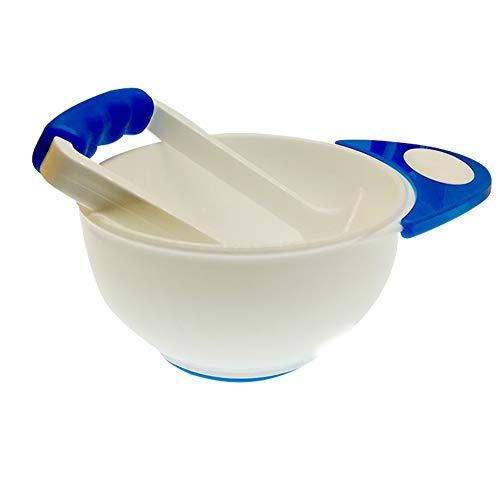 Baby Pürierset Babynahrungspressen Schüssel und Stampfer zum Pürieren von Gemüse oder Obst Gute Hilfe für Zubereitung von Selbstgemachter Babynahrung, Weiß