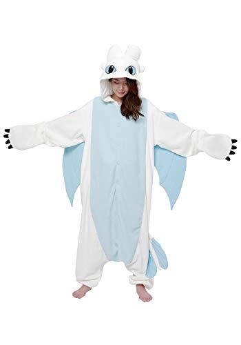 SAZAC Kigurumi - How to Train Your Dragon - Light Fury - Onesie Halloween Costume - Adult