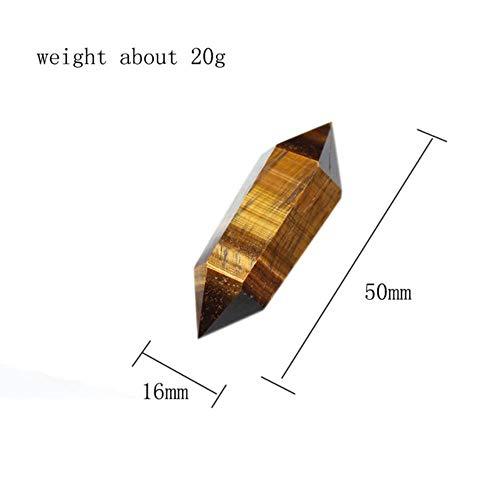 SDJH 1Pc 100% Columna de Cristal de Tigereye Natural Tratamiento de Doble Punta Piedra de Cristal de Cuarzo Ornamento de decoración de Piedra, Ojo de Tigre