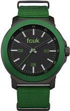 Reloj de Cuarzo de los Hombres Fcuk con Esfera de Color Negro de la Pantalla analógica en Color Verde y Correa de Nylon FC1148N