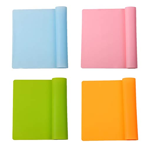 4 Stück Silikon-Tischsets, wiederverwendbare Silikon-Tischmatte, Antihaft-Backmatte, rutschfeste Esszimmer-Tischsets für Kinder, Wärmedämmung, abwaschbar, rutschfest Tisch-Untersetzer(4 Farben)