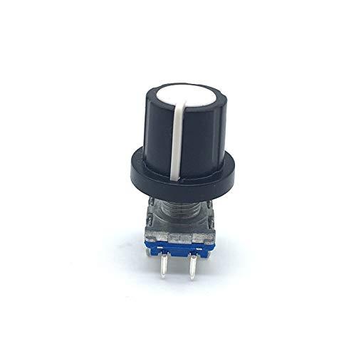 JSJJATQ Interruptores 5SETS Codificador de codificador Giratorio Switch EC11 Audio Digital con Interruptor de botón pulsador 5pin Handle Longitud 15mm con Perilla (Color : Gray)