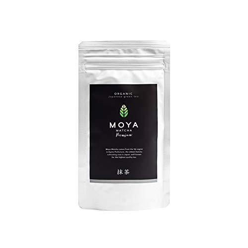BIO Moya Matcha Tee Pulver Grün | 100g Premium Zeremonie-Qualität | I Klasse | Organisch Gewachsen und Geerntet in Uji,Japan | Grüntee-Pulver Matcha | Ideal für die japanische Teezeremonie mit Wasser