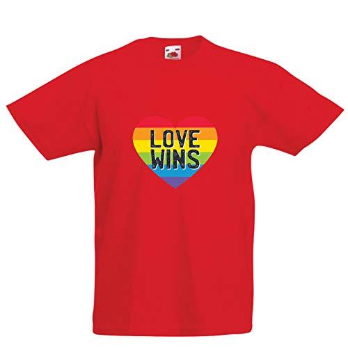 lepni.me Camiseta para Niño/Niña El Amor GANA, el Orgullo,