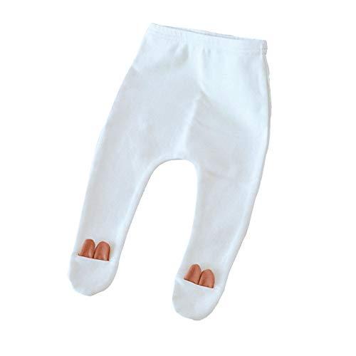 Tauzveok Medias para bebés y niñas, de algodón, para recién nacidos, suaves, cálidas, para mantener caliente en el otoño, blanco, M