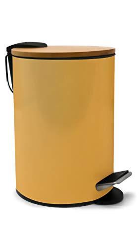 ZenMorning - Cubo de basura para cuarto de baño, diseño elegante, tapa de bambú silencioso, acabado amarillo mate antimanchas, 3 L, 17 x 24 cm