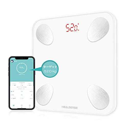 体重計 Healsense 体組成計 体脂肪計 高精度&BIA技術 体重 体脂肪率 体水分率 筋肉率 骨量 カロリー BMIなど13項健康指標 iPhone/Androidアプリで健康管理 日本語アプリで同期分析 ホワイト
