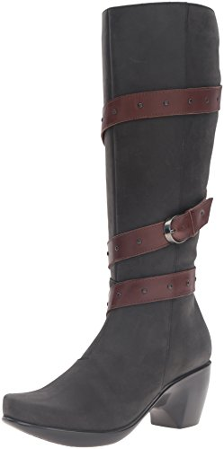 NAOT Women's Allure Riding Boot, Oily Coal Nubuck/Toffee Brown, 38 EU/7 M US