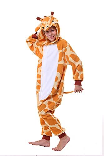 CANASOUR Kids Orange Giraffe Onesie Animal Unisex Pajamas Children (4-10T) (125#(Size 10), Orange Giraffe)