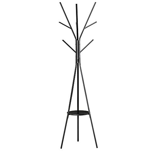 Porte-manteau trépied design contemporain branches étagère + 9 patères dim. 45L x 45l x 180H cm métal noir