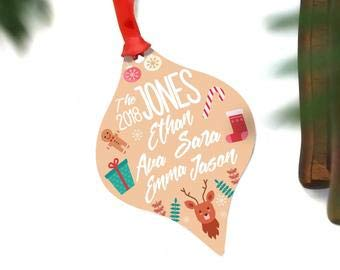 Personalized Family Christmas Ornament - Ornament Family Custom - Ornament for Tree - of 5 - of 4 - of 3 - Ornaments Personalized Home Decor