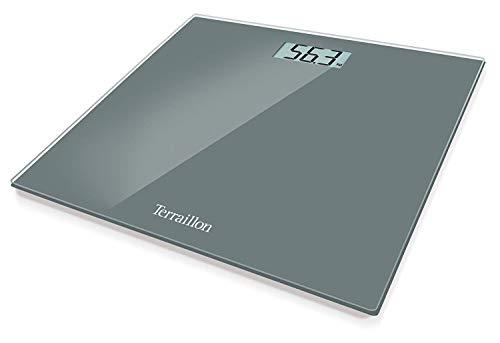 Terraillon Pèse Personne Électronique, Ultra-Plat, Marche/Arrêt Automatique, Grand Écran LCD, 150kg, TX1500, Gris