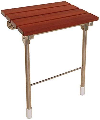 YUQIYU Montado en la pared taburete de ducha, de madera plegable del asiento de ducha de zapatos de madera Banco/discapacitados/mayor/mujeres embarazadas antideslizante taburete de ducha