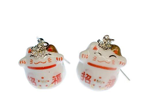 Cat pendientes Winkekatze gato afortunado de Maneki-neko Miniblings porcelana blanca roja