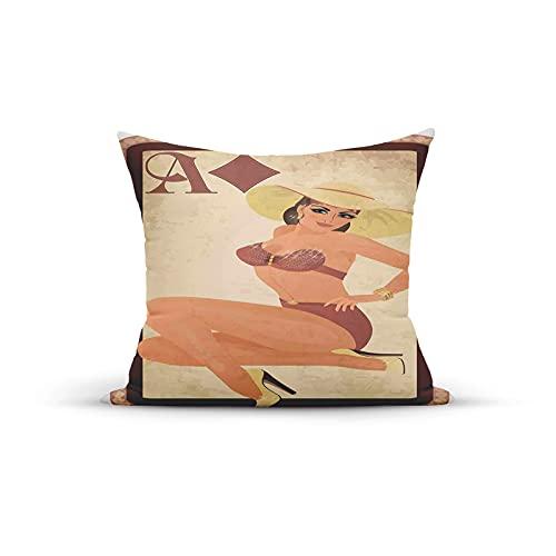 FULIYA, Bikini de estilo retro con sombrero de playa en el marco de icono de póquer, fundas decorativas para almohadas, fundas de cojín para dormitorio, sofá, sala de estar, 45,7 x 45,7 cm