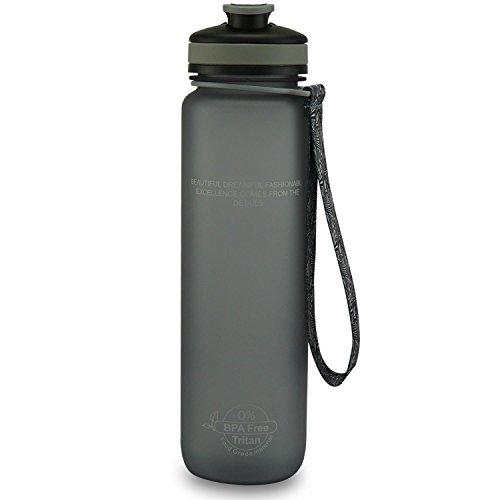 SMARDY Tritan Botella de Agua para Beber Gris - 650ml - de plástico sin BPA - Tapa de un Flip Top - fácil de Abrir - ecológica - Reutilizable