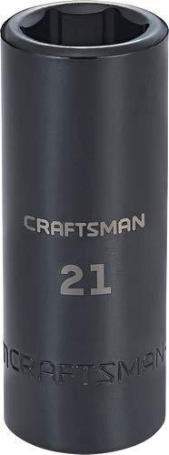 CRAFTSMAN Deep Impact Socket, Metric, 1/2-Inch Drive, 21mm (CMMT16081)