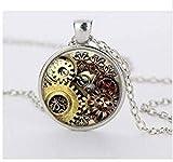 Steampunk, collana con ciondolo a forma di orologio, alla moda, con tecnologia di orologio, regalo di compleanno, fantascienza, fantastica collana da uomo