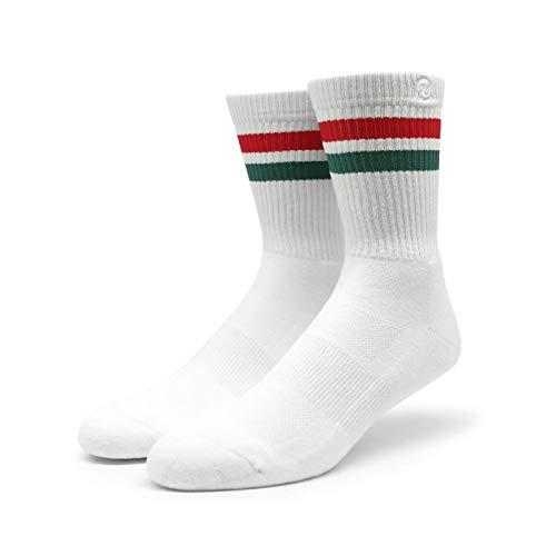 Spirit of 76 | Sportsocken mit Streifen | Weiß, Rot & Grün gestreift | Knöchelhohe Skater Tubesocks (43-46)