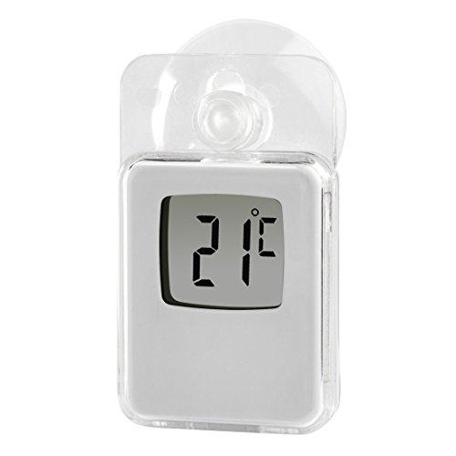 Hama Fenster-Thermometer mit Saugnapf (digital, einsetzbar als Innen- oder Außen-Thermometer, wetterfest, transparent) weiß