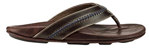 OLUKAI Men's MEA Ola Sandals, Dark Shadow/Mustang, 9 M covid 19 (Fashions Correct Shadow coronavirus)
