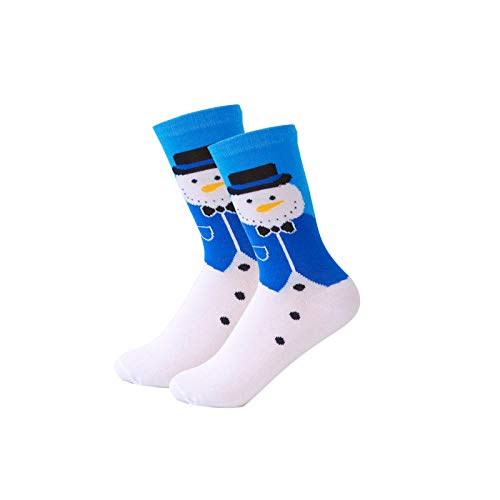 RTESBGH Novelty Sokken, Blauwe Pak Sneeuwman Op Wit Zachte Comfy Katoen Pluizige Kerstsokken Winter Nieuwjaar Kerstman Kerstboom Sneeuw Elk Gift Happy Sokken (3ps)