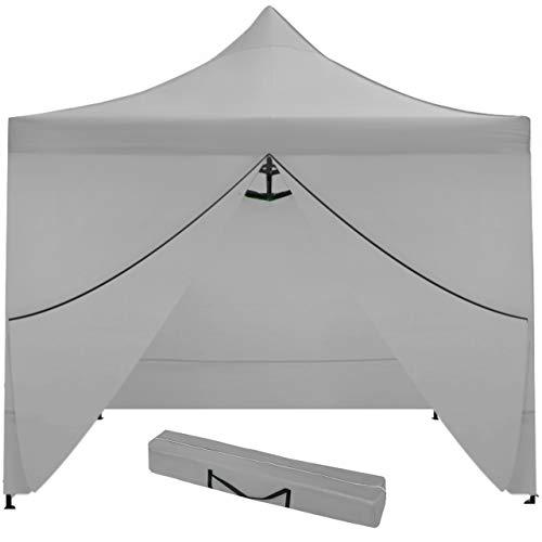 MT MALATEC Faltpavillon Faltzelt 3x3m Partyzelt Gartenpavillon UV 30 WASSERDICHT 9920, Farbe:Grau
